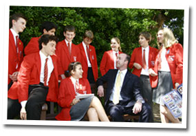 Ian McIntyre with pupils of St Christopher's School, Hove