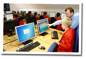 St Christopher's pupils being taught in the ICT suite
